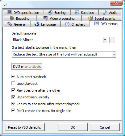 ConvertXtoDVD Options Menu