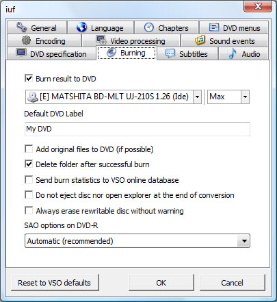 ConvertXtoDVD Options Writer