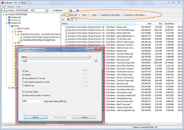 IsoBuster 3.7 Beta Screenshot met Breadcrumbs control en zoekfunctionaliteit
