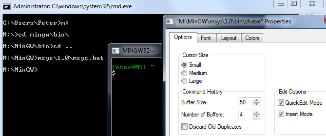 MinGW console / MSYS Properties