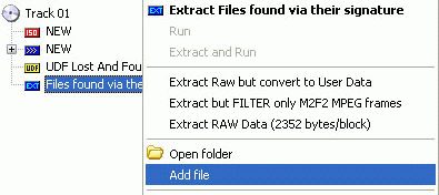 Add file to files found based on their signature
