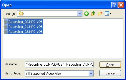 Nero - Add VOB files