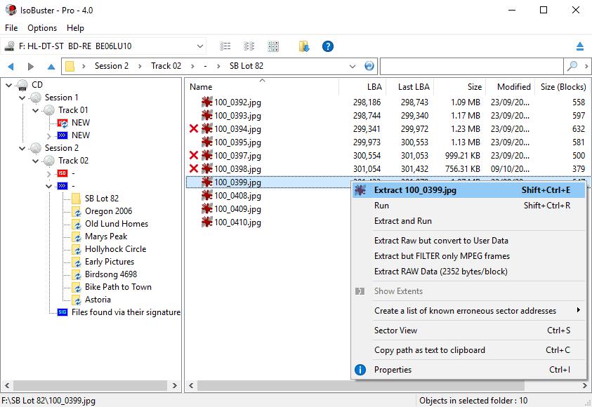 IsoBuster foto's / screenshots - CD, DVD, BD, HD DVD, HDD, USB